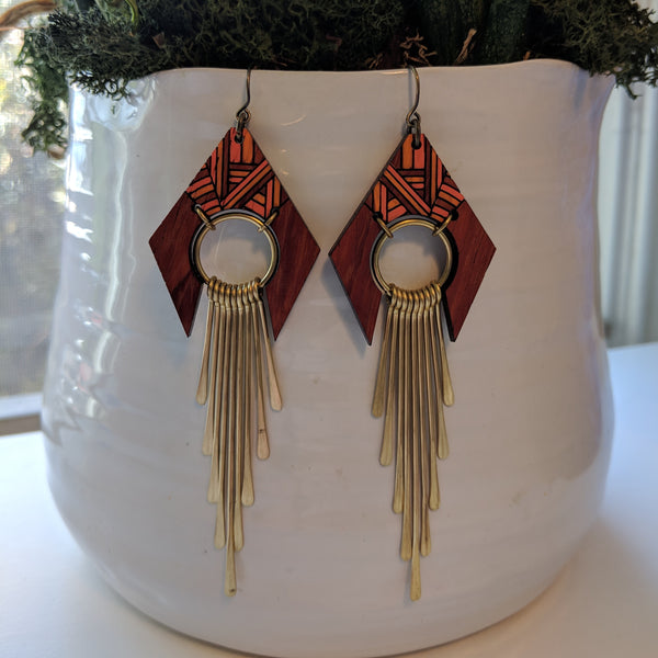 Wood and Brass Fringe Earrings