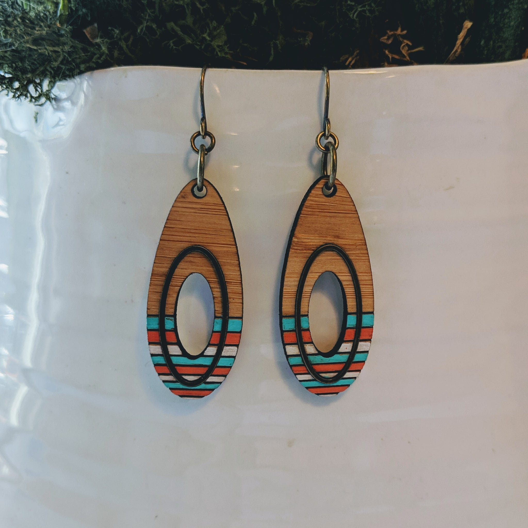 Teardrop Wood and Antique Brass Earrings