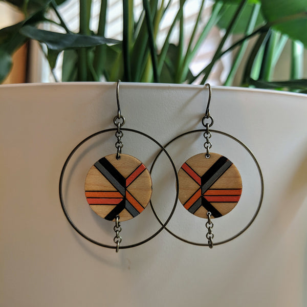 Wood and Brass Geometric Circle Earrings