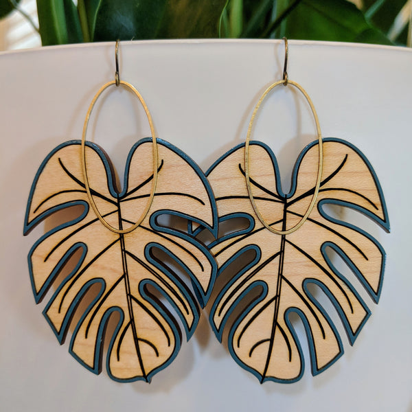 Large Monstera Earrings - Maple