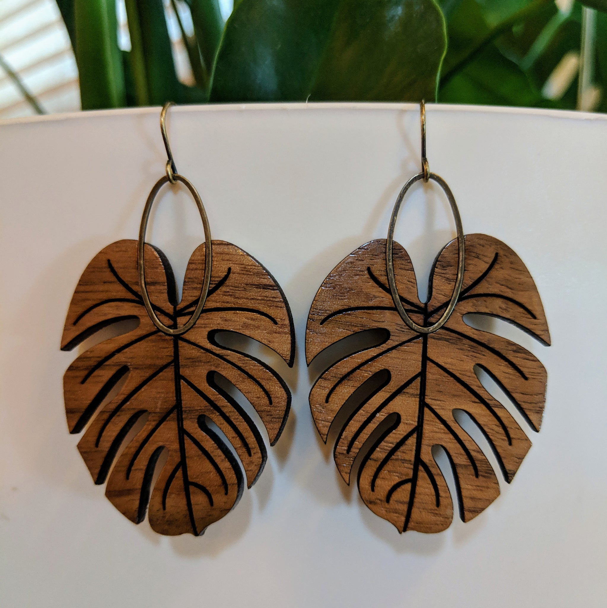 Medium Monstera Earrings - Walnut or Maple