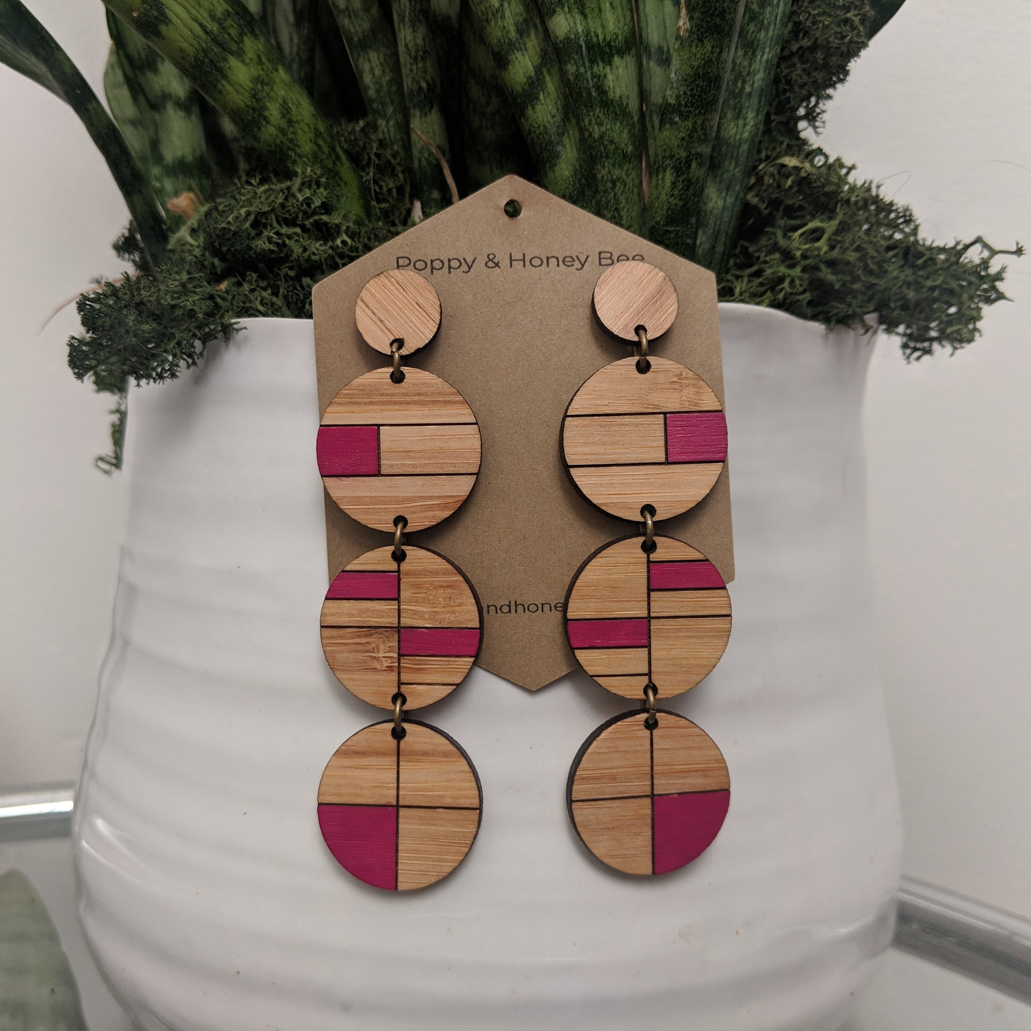 Bauhaus Inspired Bamboo Stud Earrings