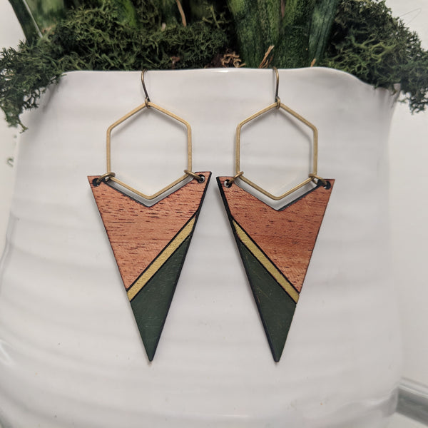 Arrow and Hexagon Wood and Antique Brass Earrings - Two Color