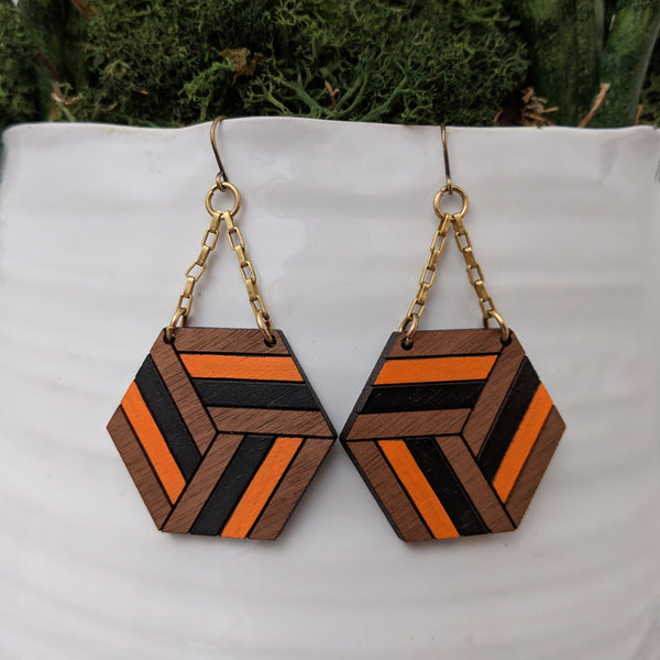 Knotted Hex Large Earrings - Walnut