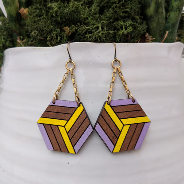 Knotted Hex Medium Earrings - Walnut