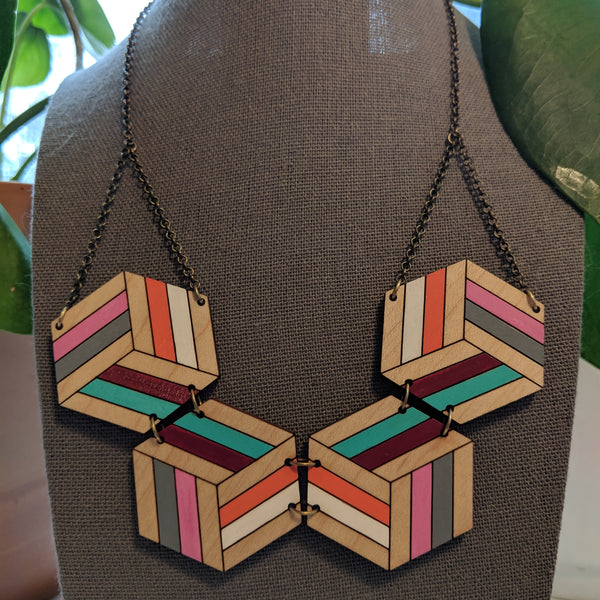 Knotted Hex Necklace - Maple