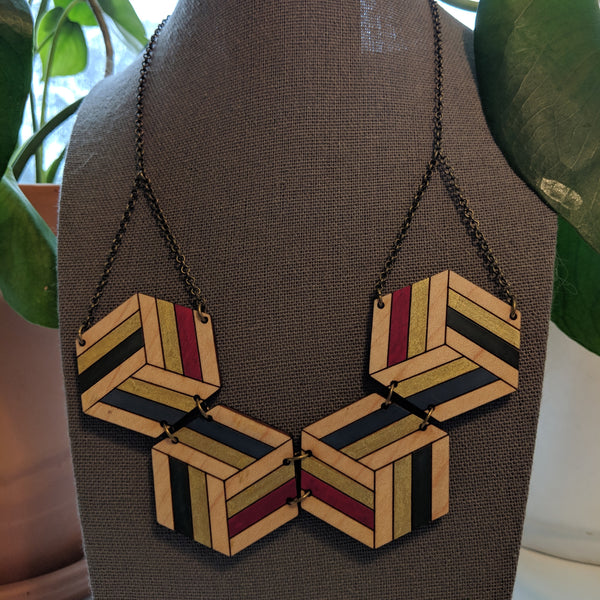Double-Sided Knotted Hex Necklace - Maple & Walnut