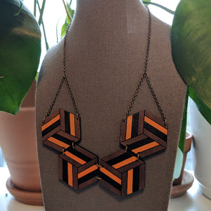 Knotted Hex Necklace - Walnut