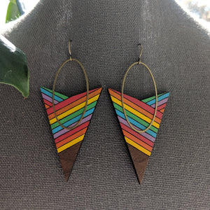 Arrow and Oval Walnut and Brass Earrings