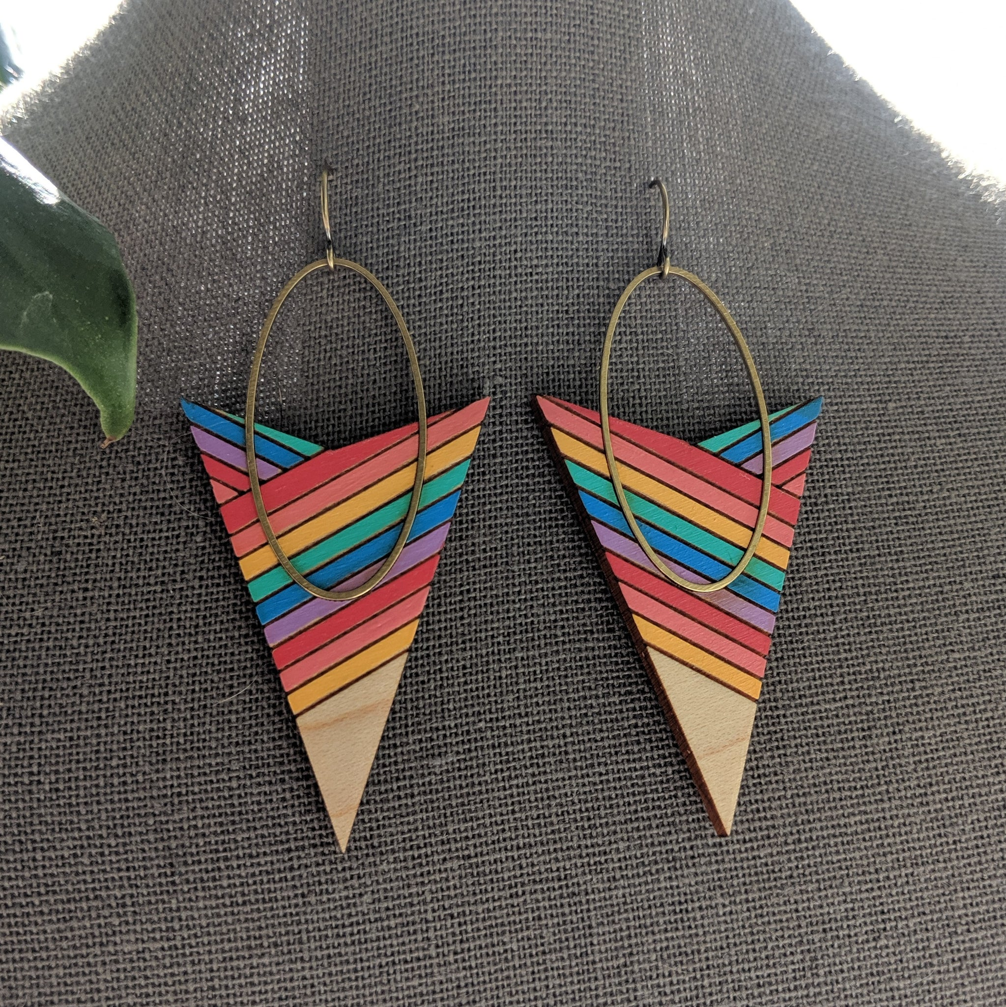 Arrow and Oval Maple and Brass Earrings