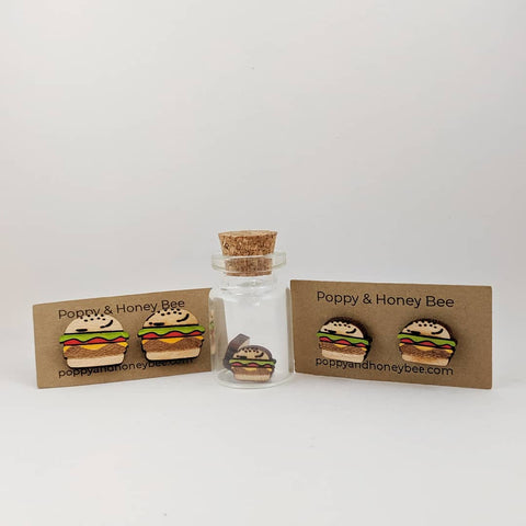 Hamburger Stud Earrings and Cufflinks