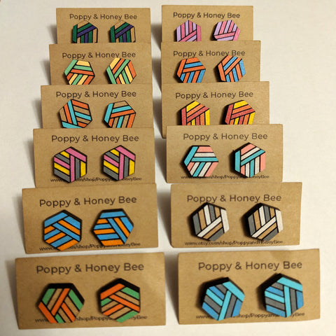 Hexagon Striped Stud Earrings