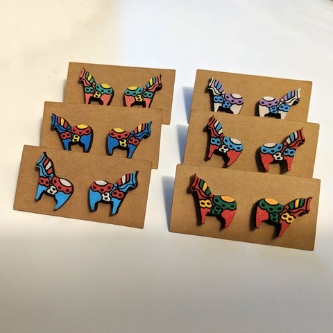 Swedish Dala Horse Stud Earrings