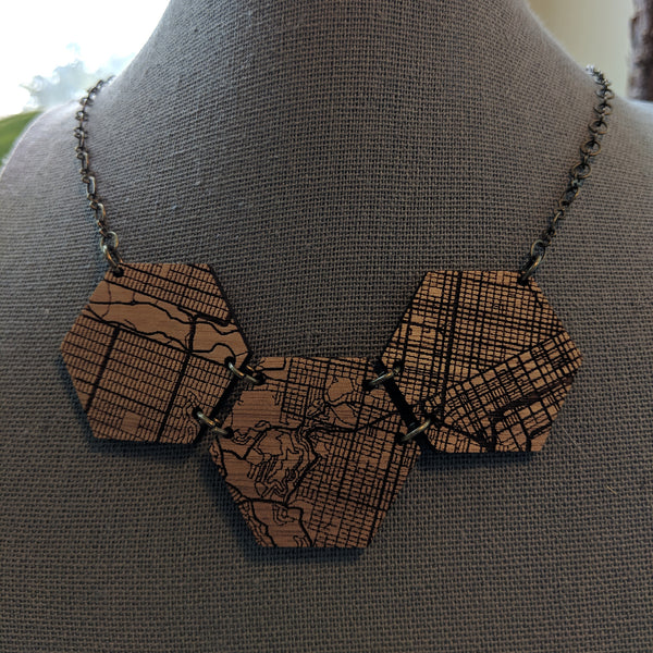 San Francisco Map Hexagon Trio Wood Necklace