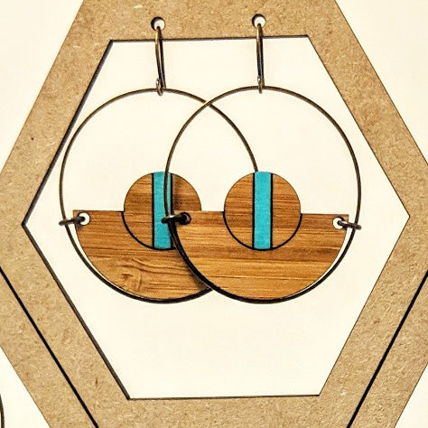 Antique Brass Circle and Wood Earrings