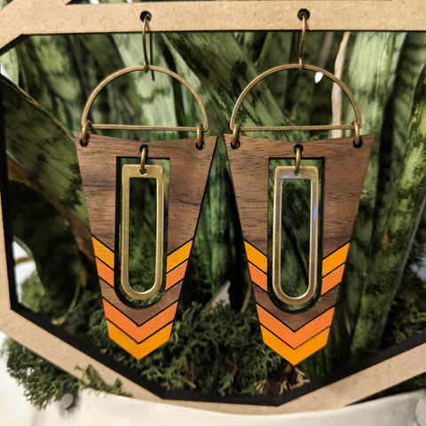Geometric Wood and Brass Accent Earrings - Walnut