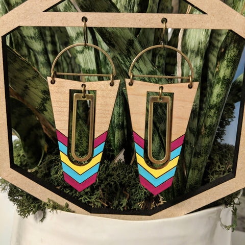 Geometric Wood and Brass Accent Earrings - Maple