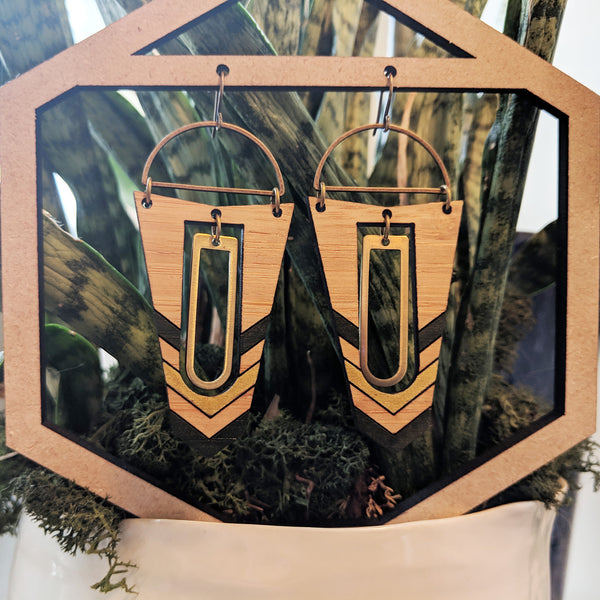 Geometric Wood and Brass Accent Earrings - Bamboo