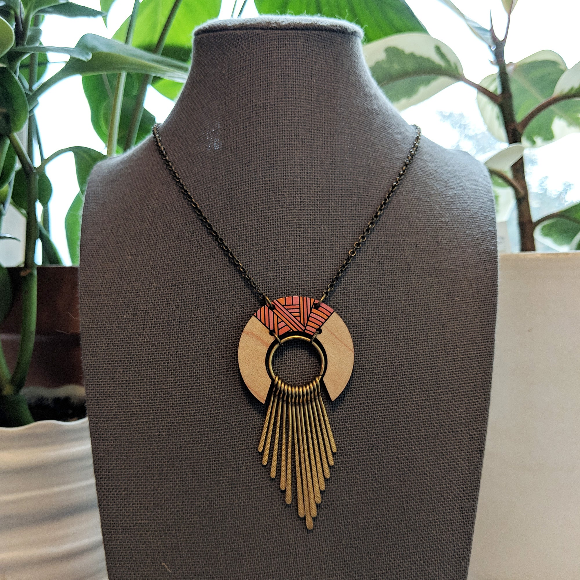Wood and Brass Fringed Necklace