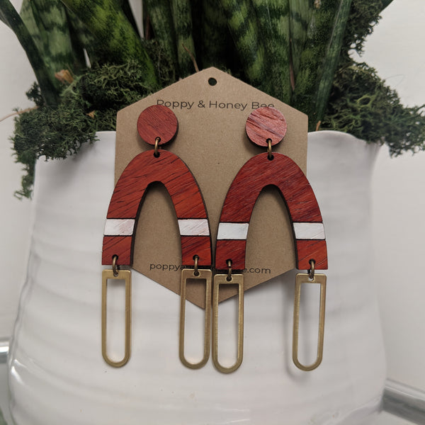 Padauk Wood Arch and Brass Accent Stud Earrings