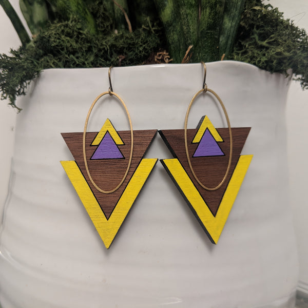 Mountains and Valleys Walnut and Brass Earrings