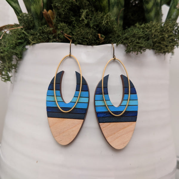 Oval on Oval Maple and Brass Earrings
