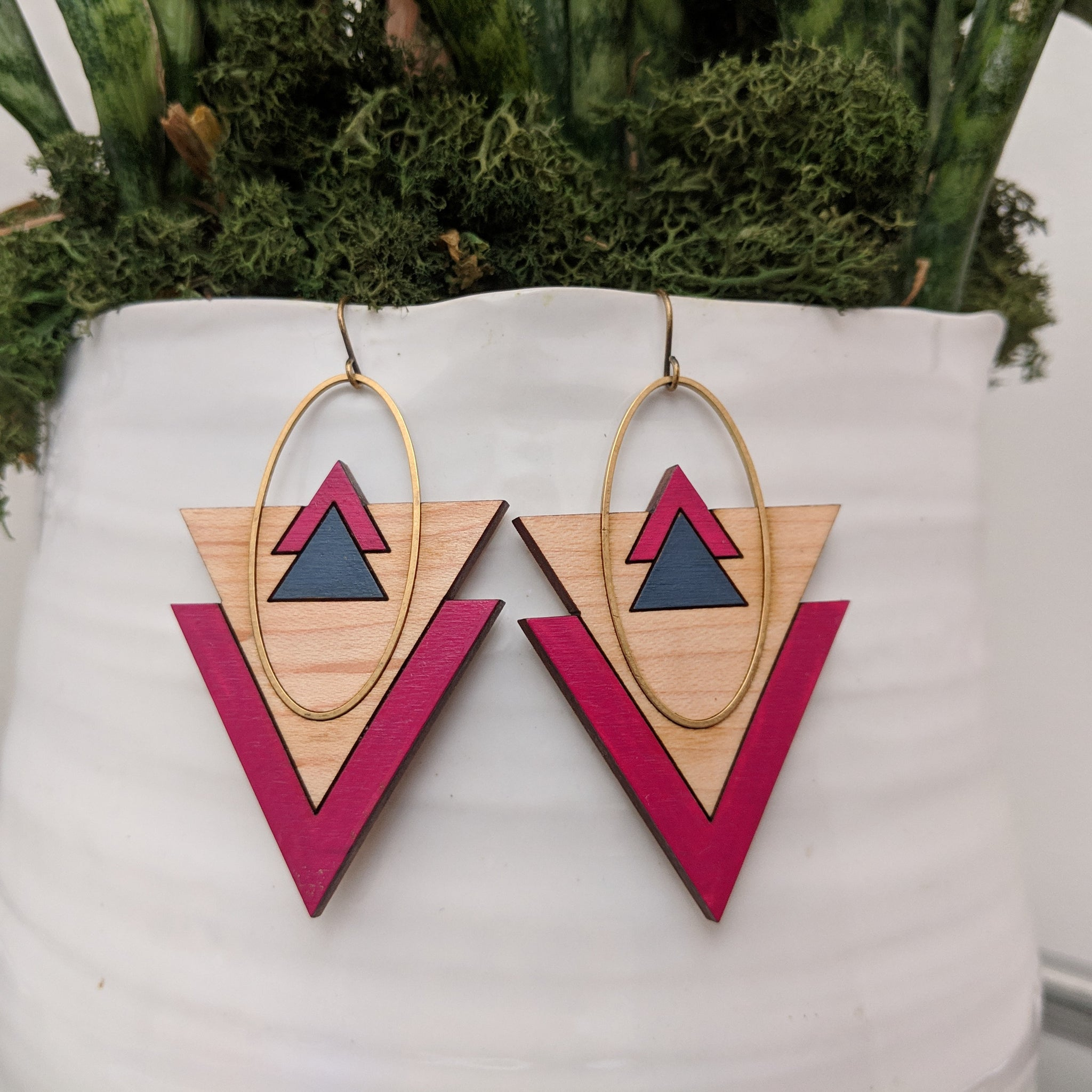 Mountains and Valleys Maple and Brass Earrings