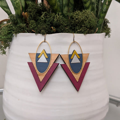 Mountains and Valleys Bamboo and Brass Earrings