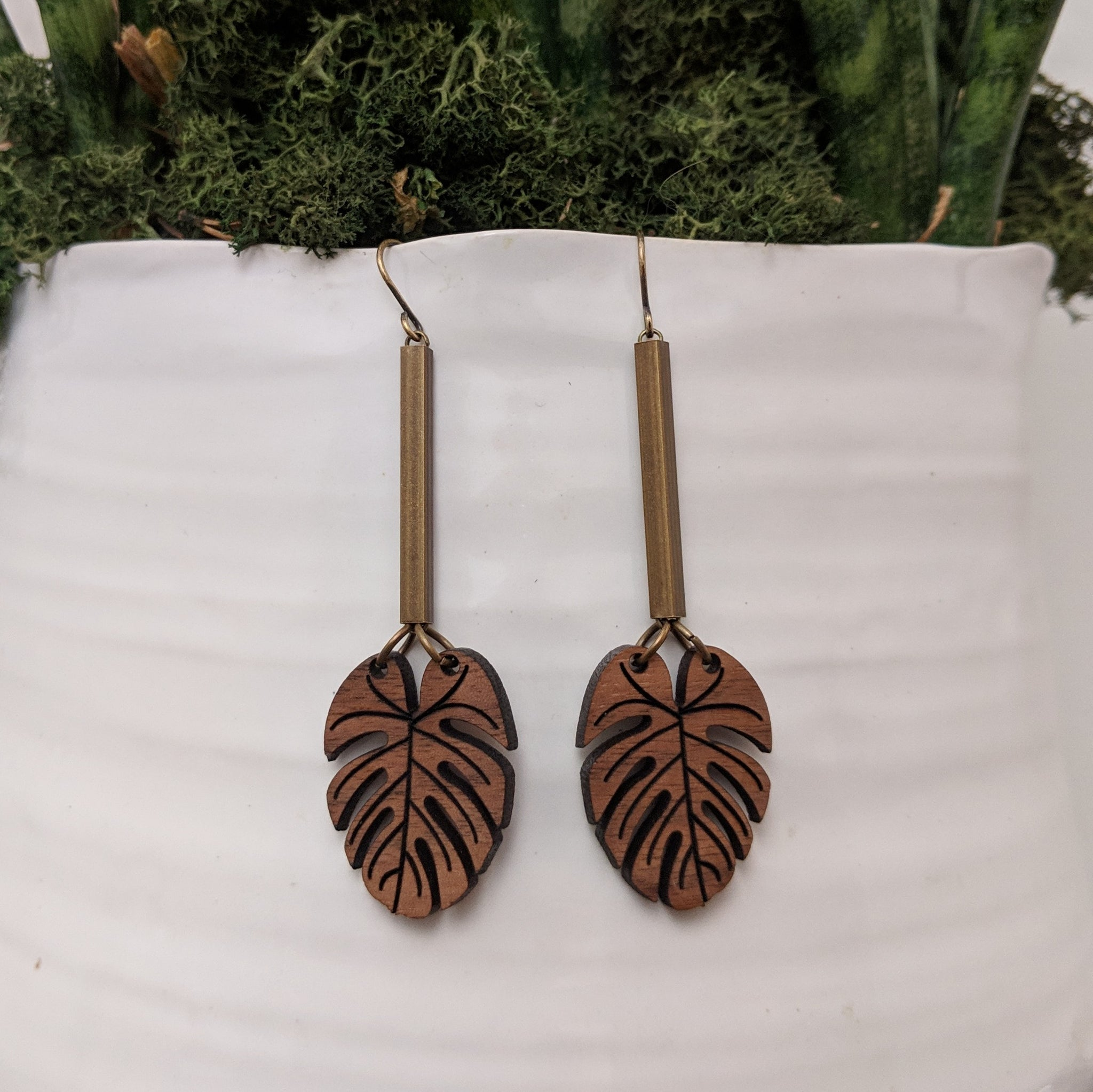 Small Monstera and Brass Earrings - Walnut or Maple