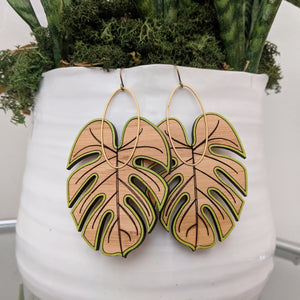 Large Monstera Earrings - Bamboo