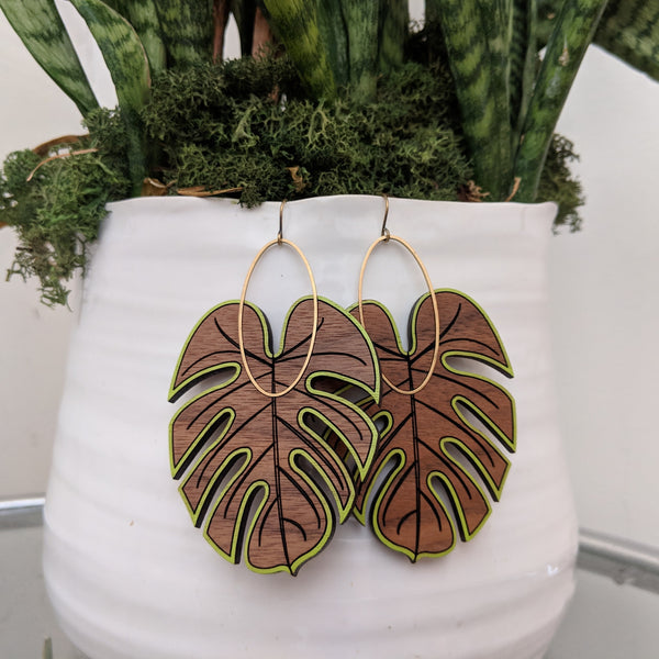 Large Monstera Earrings - Walnut
