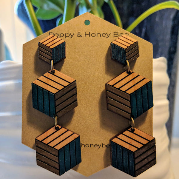 Expanding Cubes x3 Stud Earrings - Cherry