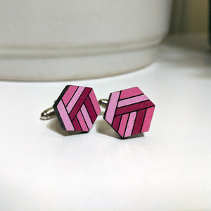 Hexagon Striped Cufflinks
