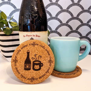 Coffee Cats Wine Cork Coasters - Set of 4