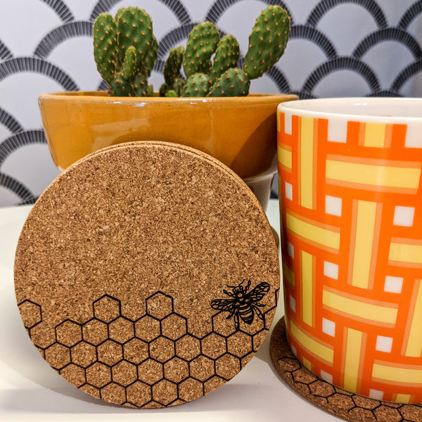 Honeycomb and Bee Cork Coasters - Set of 4