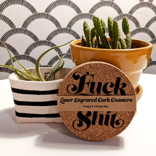 Profanity Cork Coasters - Set of 4