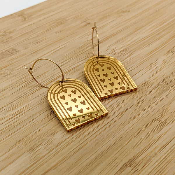 Arches and Hearts Gold Mirrored Acrylic Earrings