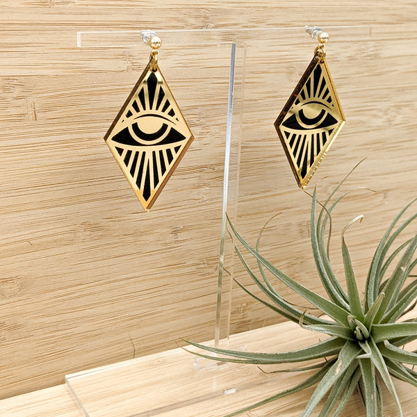 Third Eye Black and Gold Mirrored Acrylic Earrings