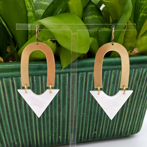 Arch and Arrow Brass and Pearl White Marble Acrylic Earrings