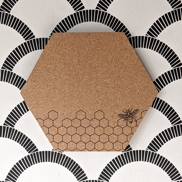 Honeycomb and Bee Hexagon Cork Board