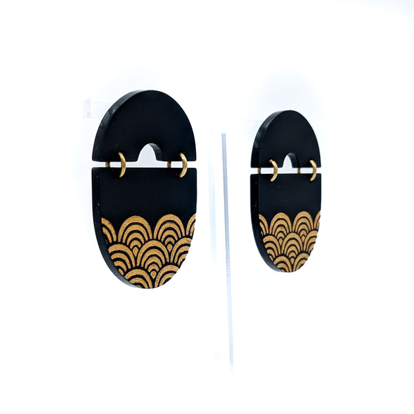 Gold Japanese Seigaiha Waves Oval Stud Earrings