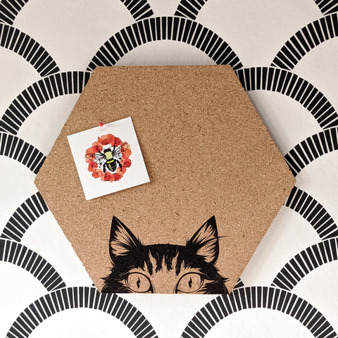 Peek-a-Boo Cat Hexagon Cork Board