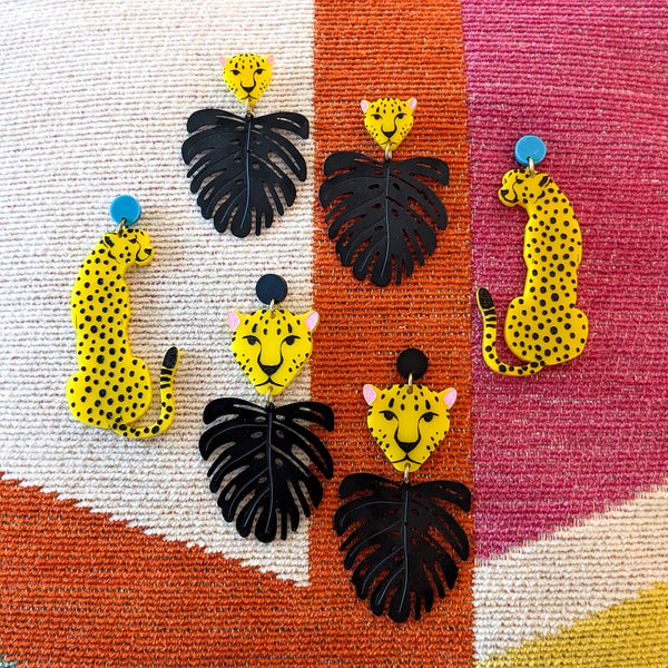 Cheetah and Monstera Earrings