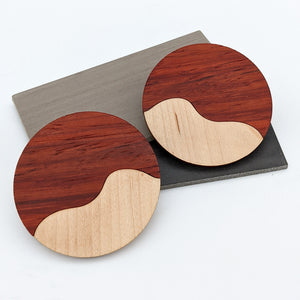 Two Tone Wood Large Circle Earrings