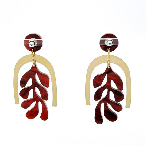 Matisse Inspired Coral Brass and Tortoise Shell Earrings  back side