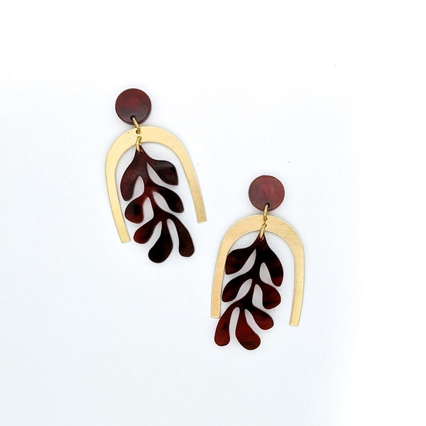Matisse Inspired Coral Brass and Tortoise Shell Earrings