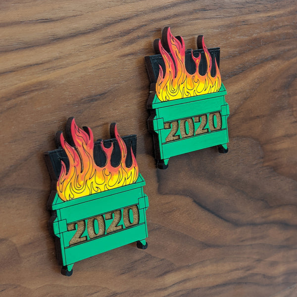 2020 Dumpster Fire Wood Magnet