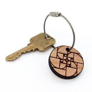 Golden Spiral Wood Keychain