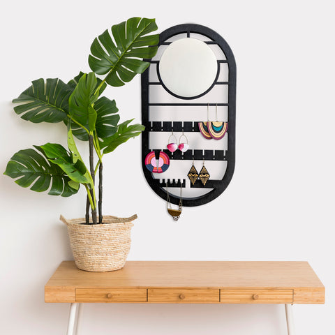Oval Geometric Wall Hanging Jewelry Holder with Mirror