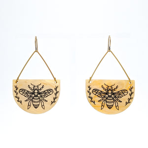 Honey Bee Golden Marble Acrylic and Brass Earrings